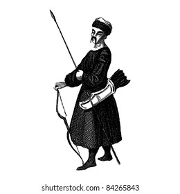 """Engraving vintage Mogolian man from """"The Complete encyclopedia of illustrations"""" containing the illustrations of The iconographic encyclopedia of science, literature and art, 1851. Vector."""