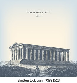"Engraving vintage Parthenon temple from ""The Complete encyclopedia of illustrations"" containing the original illustrations of The iconographic encyclopedia of science, literature and art, 1851."