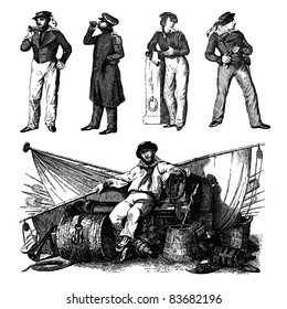 """Engraving vintage sailor men set from """"The Complete encyclopedia of illustrations"""" containing the illustrations of The iconographic encyclopedia of science, literature and art, 1851. Vector."""
