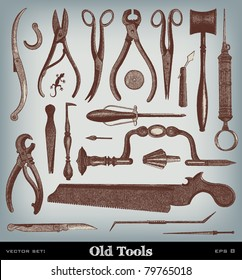 """Engraving vintage Surgery Tool set from """"The Complete encyclopedia of illustrations"""" containing the original illustrations of The iconographic encyclopedia of science and art, 1851. Vector."""