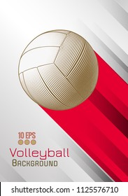 Engraving volleyball ball and shadow space illustration with red color stripe on white background