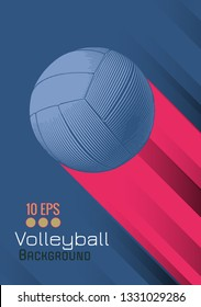 Engraving volleyball ball and shadow space illustration with red color stripe on blue background in retro theme
