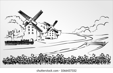 Engraving windmills in Holland. Netherlands, Europe. Hand drawn vector illustration doodle