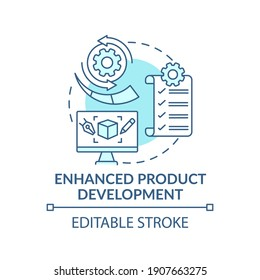 Enhanced product development concept icon. Open innovation idea thin line illustration. Bringing product from concept to market release. Vector isolated outline RGB color drawing. Editable stroke
