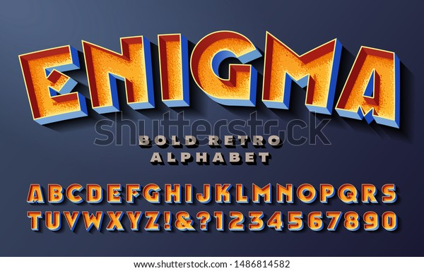 Enigma font; bold colorful retro alphabet with vintage 3d lighting effects