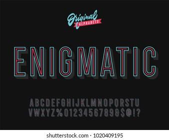 """Enigmatic"" Vintage 3D Inline Condensed Alphabet. Vibrant Old School Retro Typography. Vector Illustration."