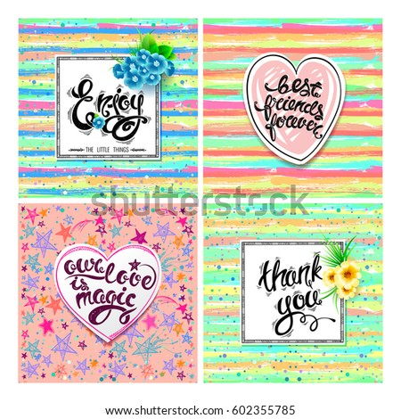 Enjoy best friends forever our love stock vector royalty free enjoy best friends forever our love is magic thank you vector set m4hsunfo