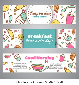 Enjoy the Day slogan. Good Morning text. Cafe, bakery concept business card. Coffeee and tea vector design Line icons