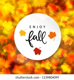 Enjoy fall. Autumn modern blurred background with silhouettes of maple leaves. Vector illustration greeting card, invitation.