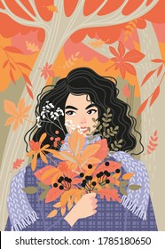 Enjoy the fall concept. A cute girl smiling and holding a bouquet of red and orange leaves on a background of an autumn forest. Illustration in flat style