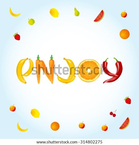 enjoy food letters banner advertisement template stock vector