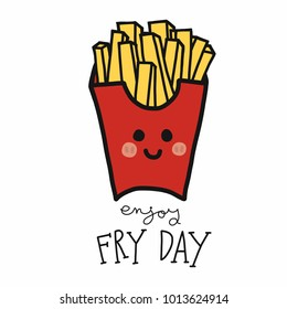 Enjoy fry day French-fries cartoon vector illustration doodle style