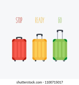 enjoy & have fun card & suitcaseflat design. luggage family in vacation. baggage in holiday. have fun & travel. stoplight traffic lights vector. stop, ready go drive & fly concept creative in summer