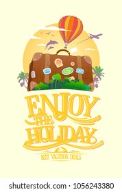 Enjoy the holiday, travel design concept with suitcase on a tropical island. Around the world advertising banner.