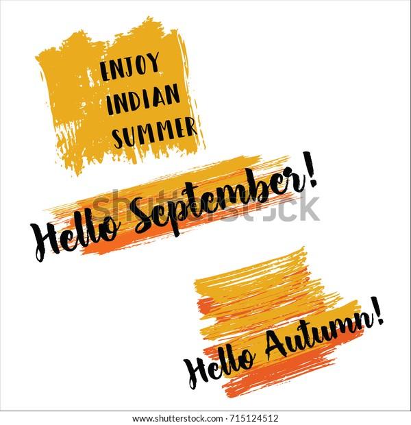 Enjoy Indian Summer Hello Autumn Hello Stock Vector (Royalty