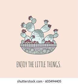 Enjoy the little things inspiring words with a pot of cactus in a multicolor vector illustration