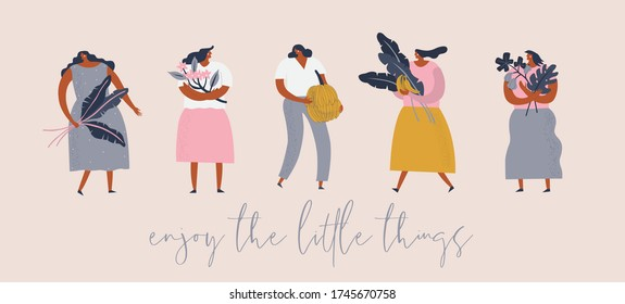Enjoy the Little Things. Tropical women cartoon characters in flat style, with exotic tropical fruits flowers and banana leaves, vector illustration.
