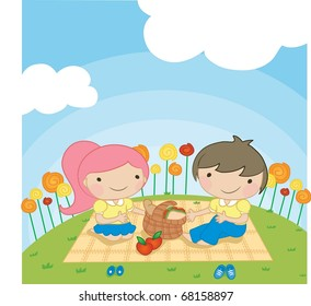 Enjoy Picnic and Happy Days background with blue sky and white cloud - playing smiling and lovely young children with food for lunch in green field on spring vacation