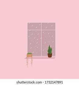 enjoy rain through the window in the evening
