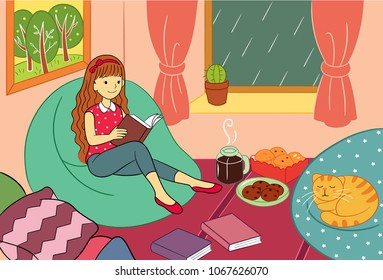 Enjoy Reading at Rainy Day Vector Illustration for many purpose such as book illustration, wallpaper, print on canvas, textile or stationery (note book, purse, bag, pencil case, laptop case etc).