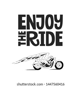 Enjoy the ride hand drawn lettering. Big rabbit family on a motorbike vector cartoon illustration. Cute bunnies travel with kids on motorcycle. Postcard, kid's book design element.