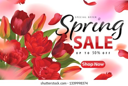 Enjoy spring sale with blooming beautiful red tulip flowers background template. Vector set of exotic tropical garden for web design, voucher, brochures and banners design.