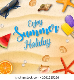 Enjoy summer holidays background and beach elements