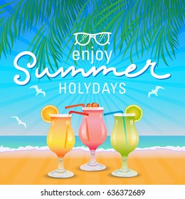 Enjoy summer holydays background hand letter. Vector illustration