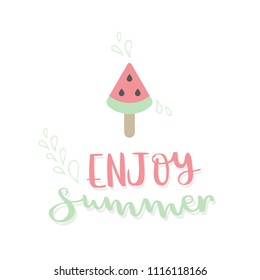 Enjoy summer lettering and watermelon. Vector illustration, hand drawn style
