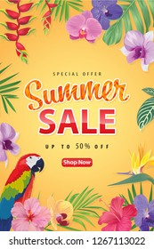 Enjoy summer sale with macaw parrot bird, tropical flower and palm leaf background template. Vector set of exotic tropical garden for web design, voucher, brochures and banners design.