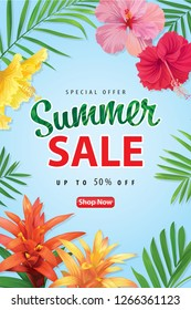 Enjoy summer sale with tropical flower and palm leaf background template. Vector set of exotic tropical garden for web design, voucher, brochures and banners design.