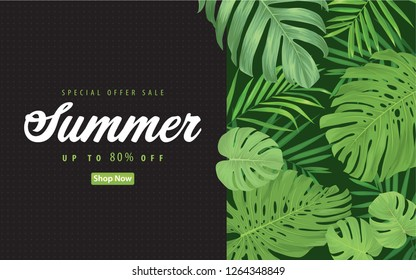 Enjoy summer sale with tropical palm leaves and monstera leaf background template. Vector set of exotic tropical garden for web design, voucher, brochures and banners design.