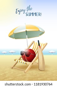 Enjoy the Summer! Sports card. Cricket ball with sunglasses, beach umbrella, deck chair and wooden bat on the sand beach. Vector illustration.