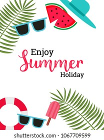 Enjoy Summer Text Title Poster Design Vector Elements and Decorations in white Background. Vector Illustration of summer.