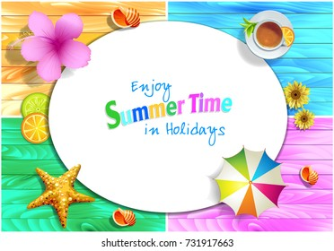 Enjoy Summer Time in Holidays vectors
