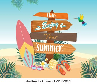 Enjoy summer vector banner design with Signs made of wood and surfboard