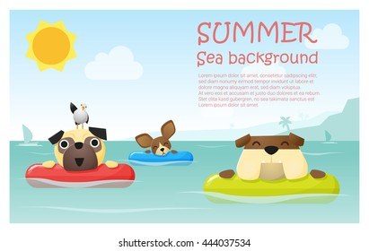 Enjoy tropical summer holiday with little dog,  vector, illustration