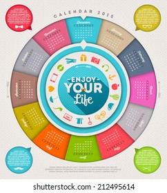 Enjoy your life - vector calendar 2015 with hipster signs and symbols