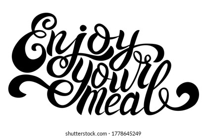 Enjoy your meal -handwritten black outline retro vector illustration. Positive inspiratioanal lettering in a cooking theme for graphic design, typography, wall art, restaurant business, T-shirt design - Shutterstock ID 1778645249