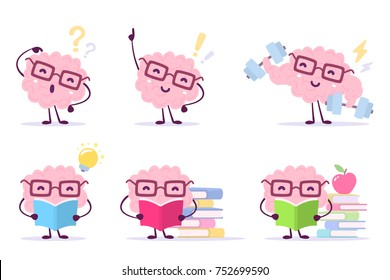 Enjoyable education brain cartoon concept. Vector set of illustration of pink color happy brain with glasses on white background with pile of books, light bulb, dumbbells. Flat style design of brain