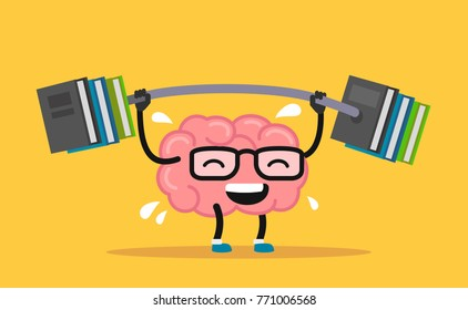 Enjoyable education brain cartoon training. Vector flat