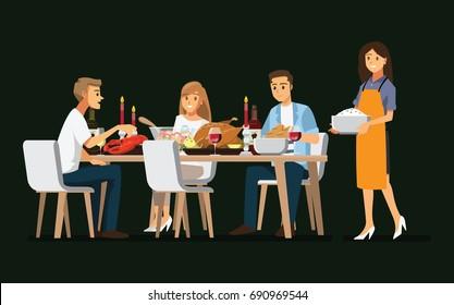 Enjoying dinner with friends,Vector illustration