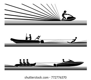 Enjoying in various water adrenaline sports. Illustration in form of pictograms which represent amusement and enjoyment in water sports, jet ski,  water ski, banana boat ride.