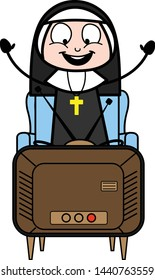 Enjoying While Watching TV - Cartoon Nun Lady Vector Illustration