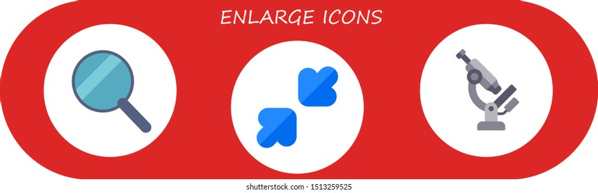 enlarge icon set. 3 flat enlarge icons.  Simple modern icons about  - search, resize, microscope