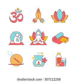 Enlightenment, yoga, lotus chakra, asana, namaste and ohm sign. Thin line icons set. Modern flat style symbols isolated on white for infographics or web use.
