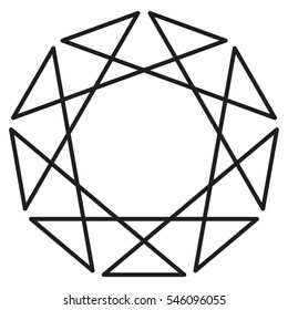 Enneagon, geometric logo, design element, vector illustration