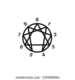 enneagram, concept icon, illustration vector