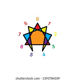 enneagram icon, illustration, symbol vector