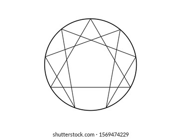 Enneagram icon, sacred geometry, vector illustration isolated on white background